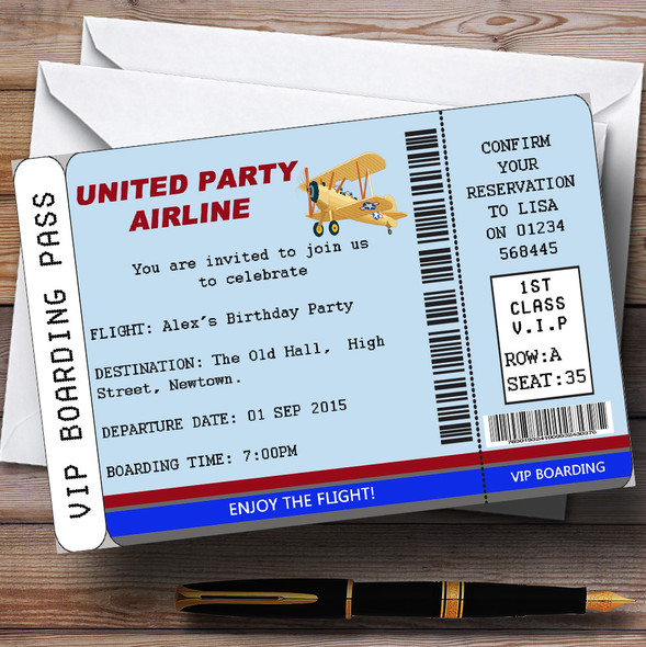 Blue Vip Plane Boarding Pass Ticket Theme Personalised Birthday Party Invitations