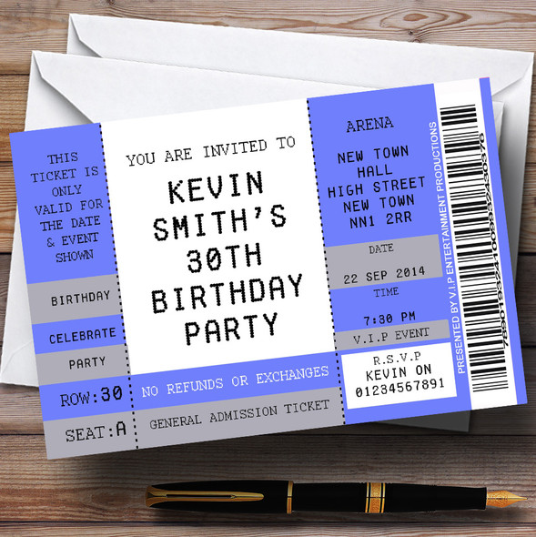 Blue Vip Spoof Concert Ticket Stub Theme Personalised Birthday Party Invitations
