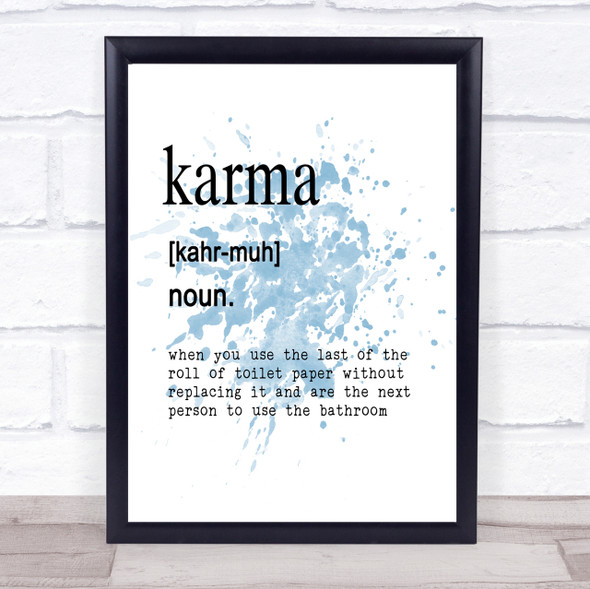 Word Definition Karma Inspirational Quote Print Blue Watercolour Poster