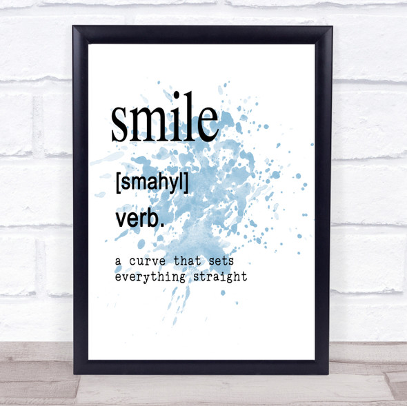 Word Definition Smile Inspirational Quote Print Blue Watercolour Poster