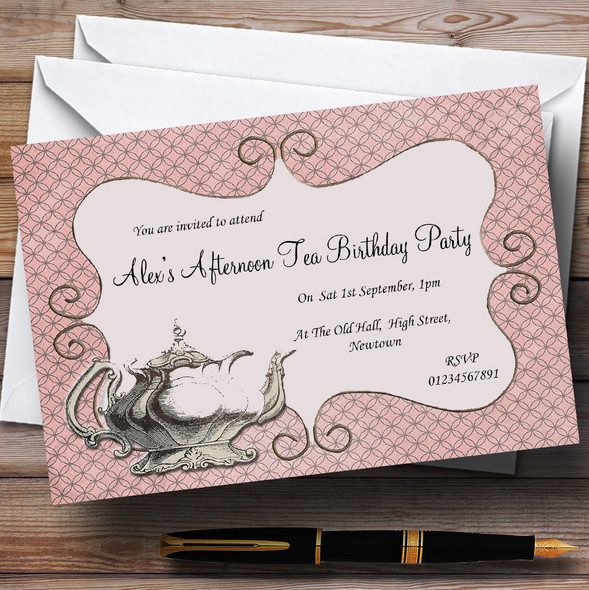 Vintage Chic Afternoon Tea Theme Personalised Birthday Party Invitations