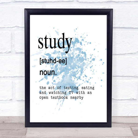 Word Definition Study Inspirational Quote Print Blue Watercolour Poster