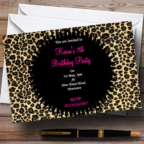 Leopard Print Pink Personalised Party Invitations