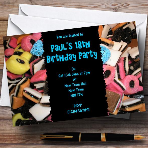 Liquorice Allsorts Blue Personalised Party Invitations