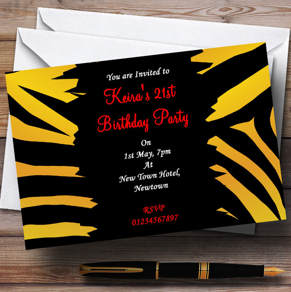 Tiger Print Personalised Party Invitations