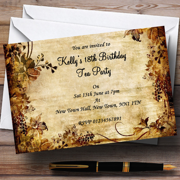 Autumn Colours Vintage Garden Tea Party Personalised Party Invitations