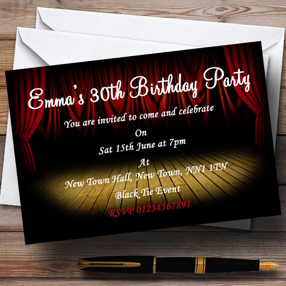 Theatre Stage Red Curtain Personalised Party Invitations