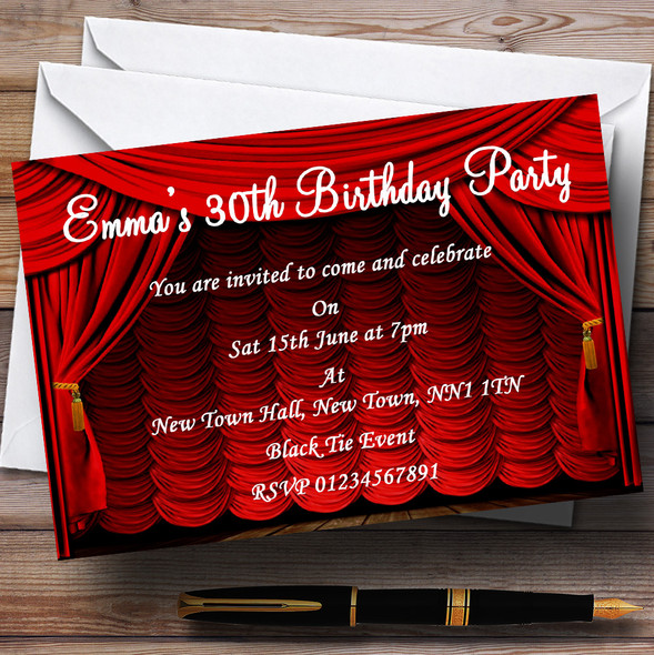 Red Theatre Curtains Stage Personalised Party Invitations