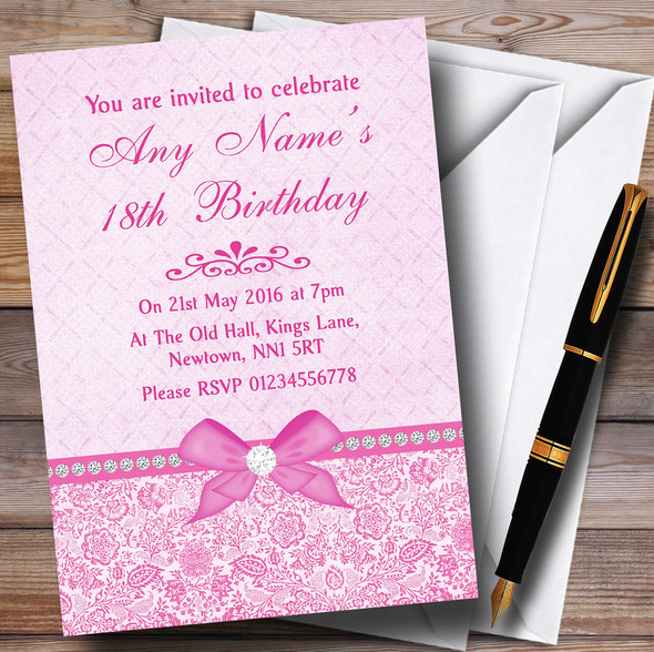 Pretty Floral Vintage Bow & Diamante Pink Personalised Birthday Party Invitations