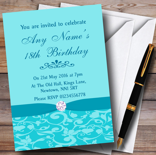 Tiffany Blue Vintage Floral Damask Diamante Personalised Birthday Party Invitations