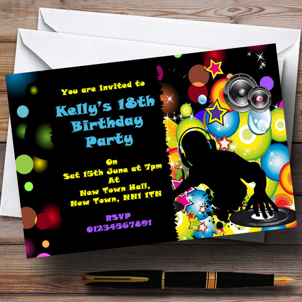 Colourful Disco DJ Personalised Party Invitations