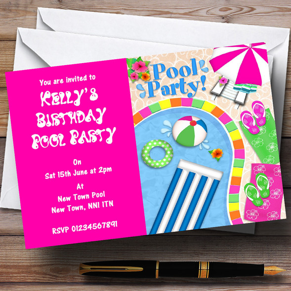 Hot Pink Summer Swimming Pool Beach Personalised Party Invitations