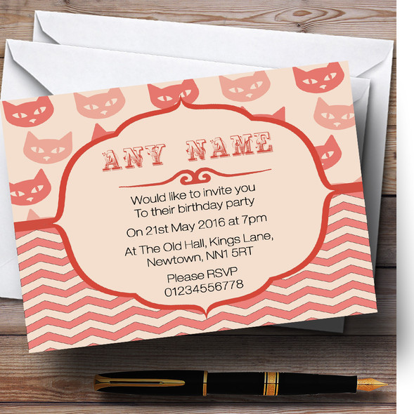 Coral Cats Personalised Birthday Party Invitations