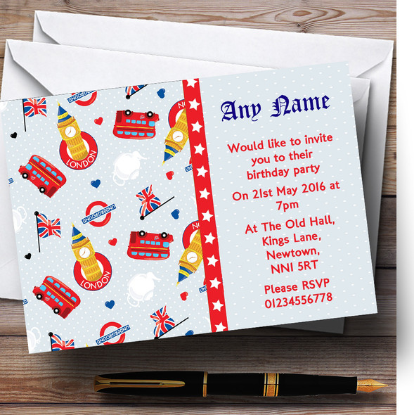 London Bus And Underground Personalised Birthday Party Invitations