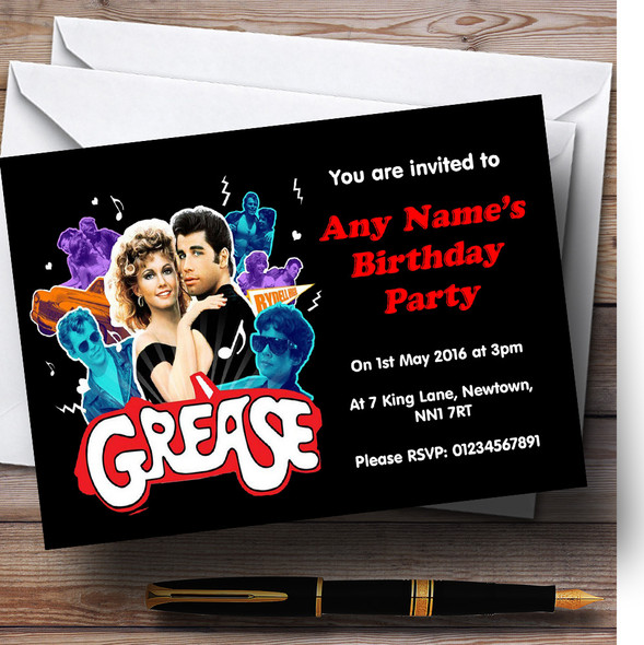 Grease Personalised Birthday Party Invitations