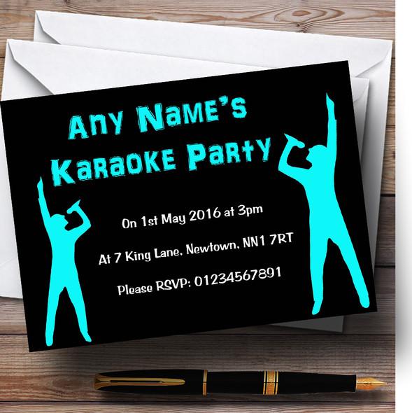 Black And Aqua Karaoke Personalised Birthday Party Invitations