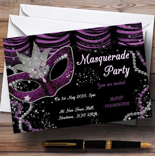Masquerade Purple Personalised Birthday Party Invitations