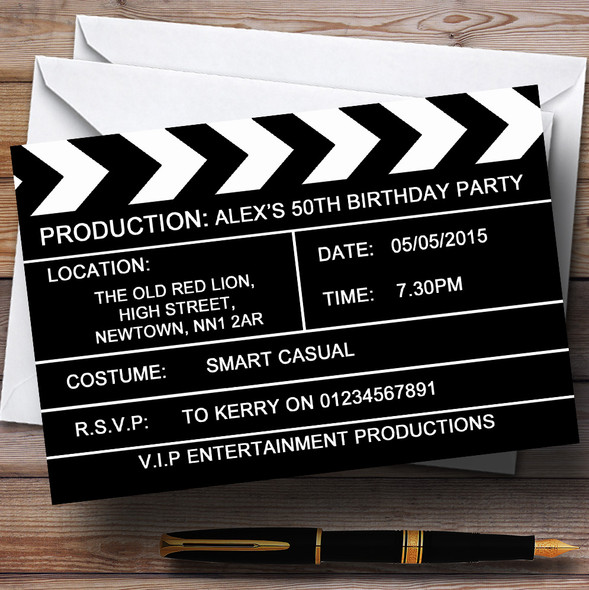 Hollywood Movie Clapboard Clapper Theme Personalised Birthday Party Invitations