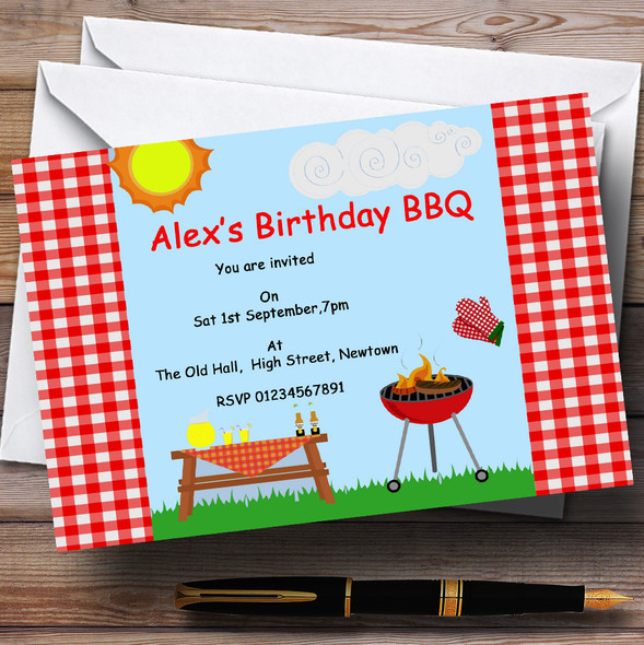 Summer BBQ Grill Theme Personalised Birthday Party Invitations