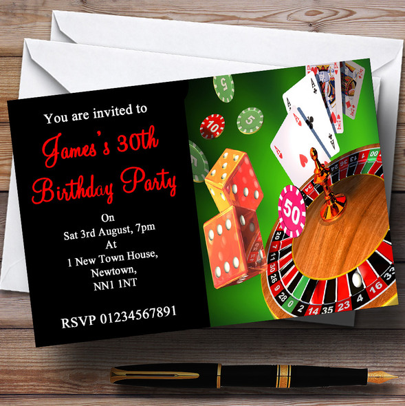 Casino Personalised Party Invitations