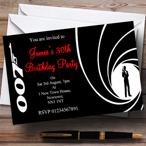 James Bond  Personalised Party Invitations
