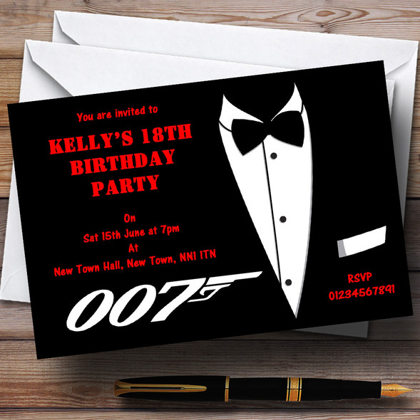 James Bond Theme Personalised Party Invitations