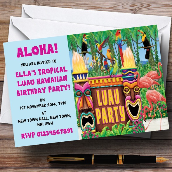 Turquoise Hawaiian Tropical Luau Personalised Party Invitations