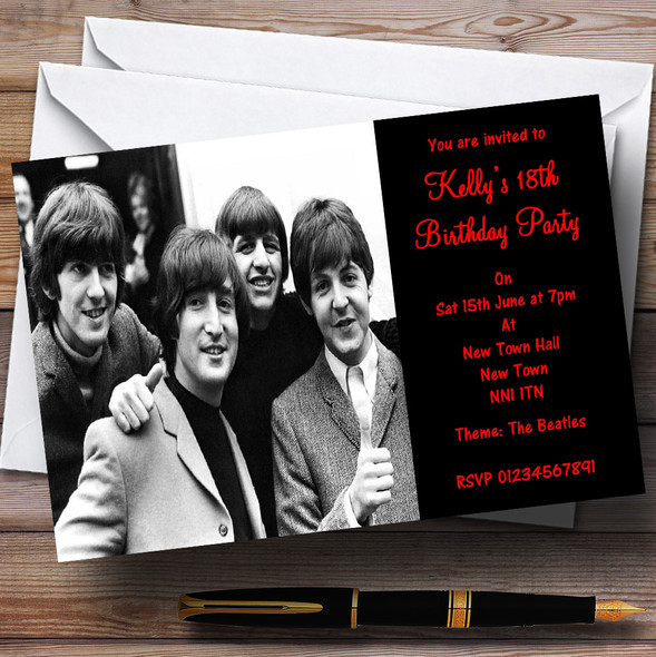 The Beatles Theme Personalised Party Invitations
