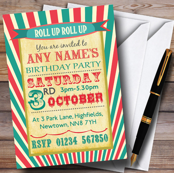 Vintage Carnival Old Style Circus Birthday Party Personalised Invitations