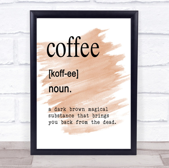 Word Definition Coffee Quote Print Watercolour Wall Art