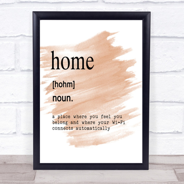 Word Definition Home Quote Print Watercolour Wall Art