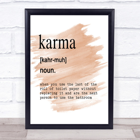 Word Definition Karma Quote Print Watercolour Wall Art