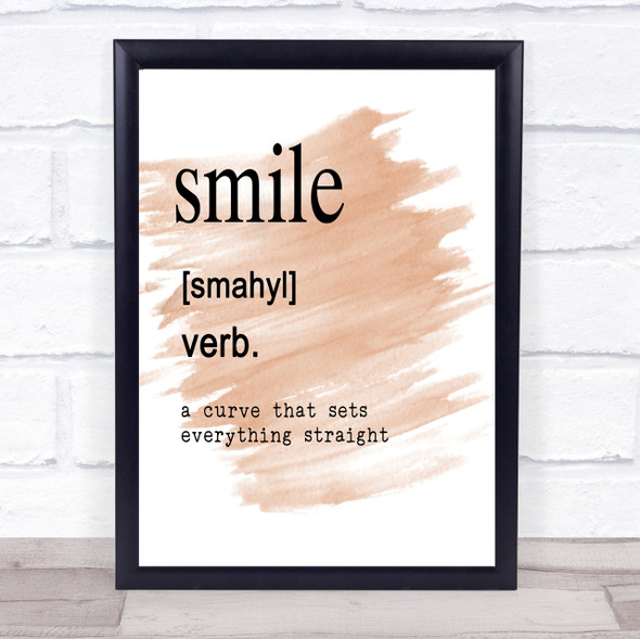 Word Definition Smile Quote Print Watercolour Wall Art