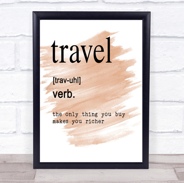 Word Definition Travel Quote Print Watercolour Wall Art