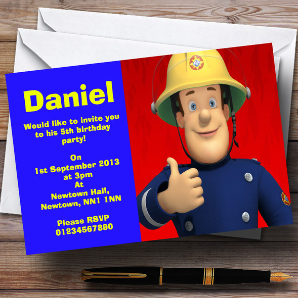 Fireman Sam Red And Blue Personalised Children's Birthday Party Invitations