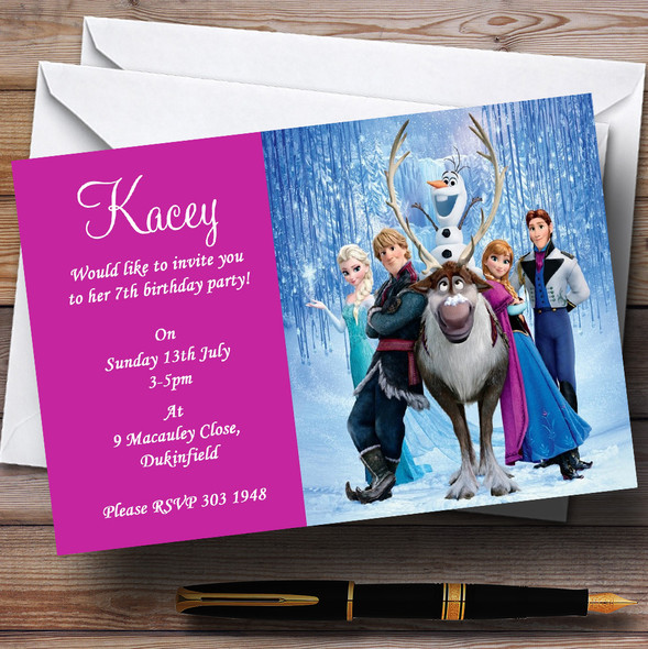 Frozen Pink Personalised Children's Birthday Party Invitations
