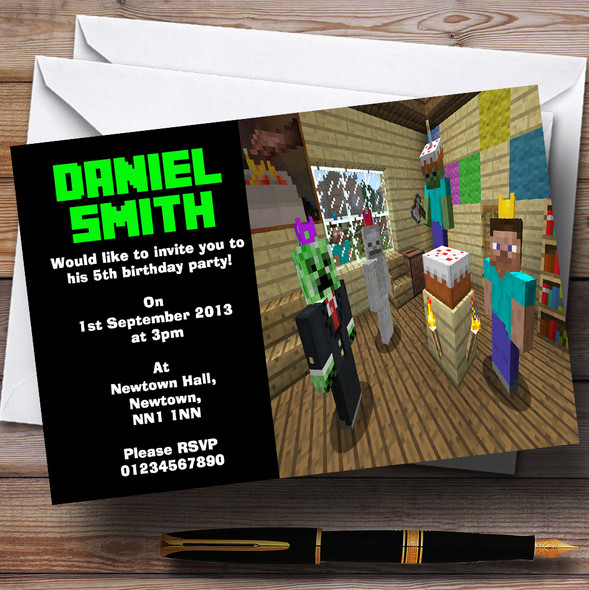 Minecraft Party Personalised Children's Birthday Party Invitations