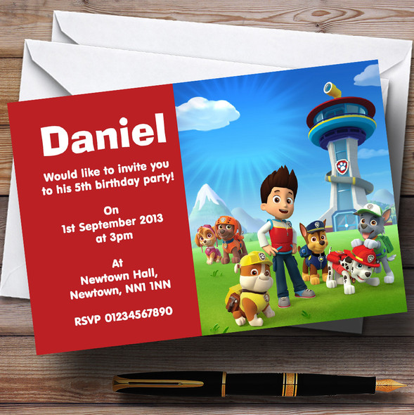 Paw Patrol Personalised Children's Birthday Party Invitations