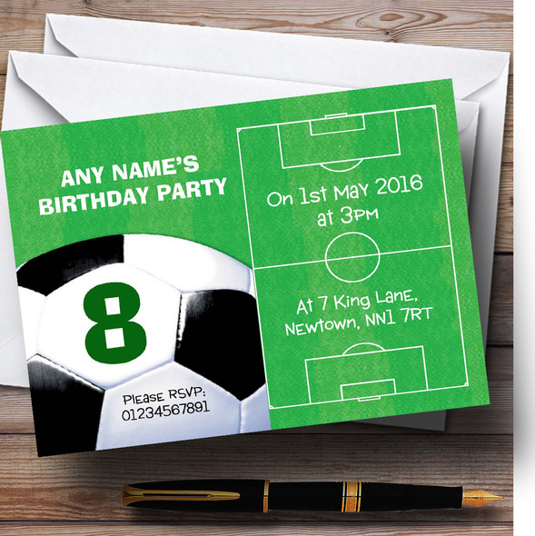 Football Pitch Ball Soccer Personalised Birthday Children's Party Invitations