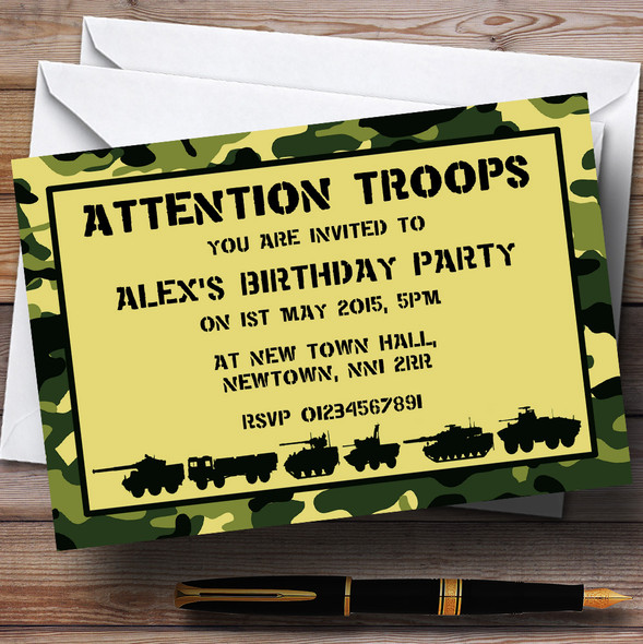 Army Troops Camouflage Personalised Birthday Party Invitations