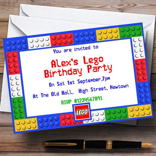 Lego Bricks Personalised Birthday Party Invitations