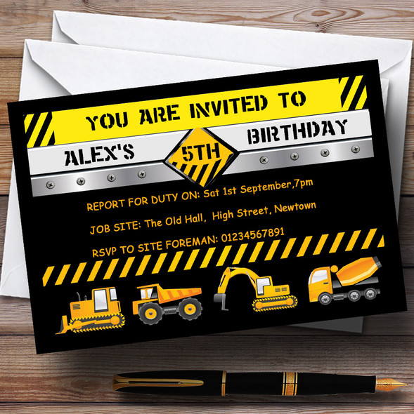 Digger Jcb Construction Builder Theme Personalised Birthday Party Invitations