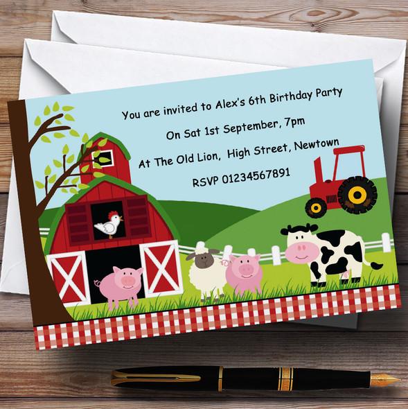 Farm Animals Farmyard Theme Personalised Birthday Party Invitations