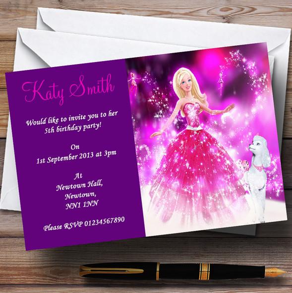 Purple Barbie Personalised Children's Party Invitations