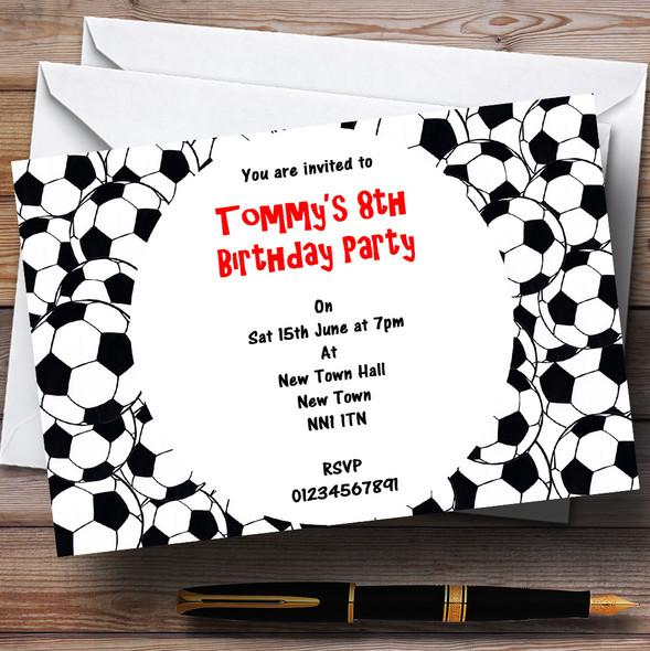Footballs Personalised Children's Party Invitations