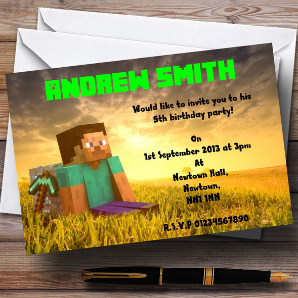 Minecraft Personalised Children's Party Invitations