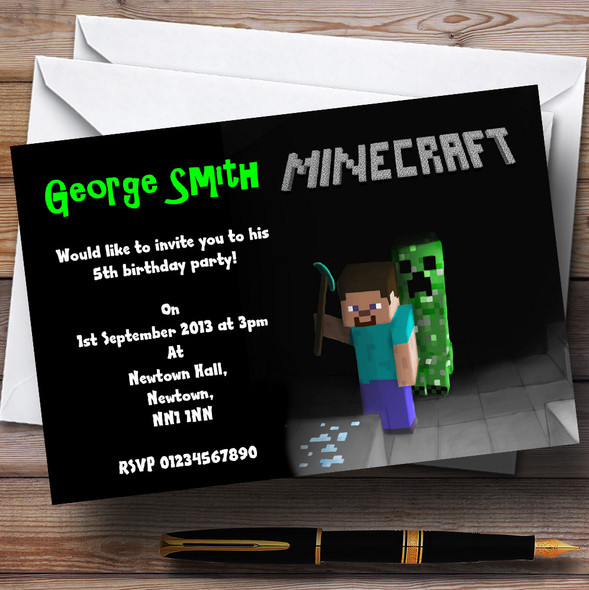 Cool Minecraft Personalised Children's Party Invitations