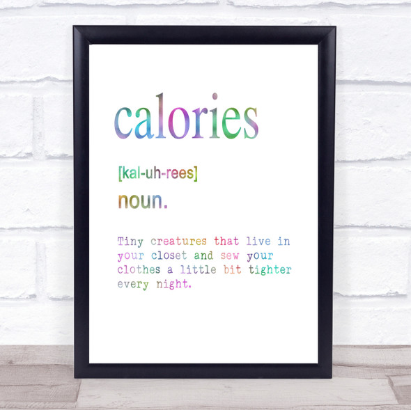 Word Definition Calories Rainbow Quote Print