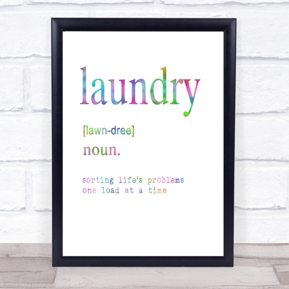 Word Definition Laundry Rainbow Quote Print