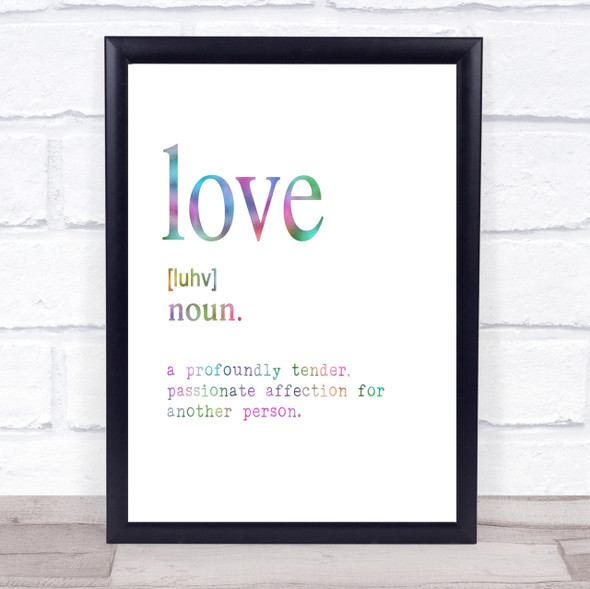 Word Definition Love Rainbow Quote Print